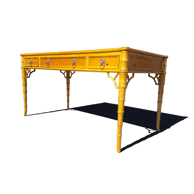 Baker Furniture Chippendale Faux Bamboo Desk For Sale - Image 12 of 12