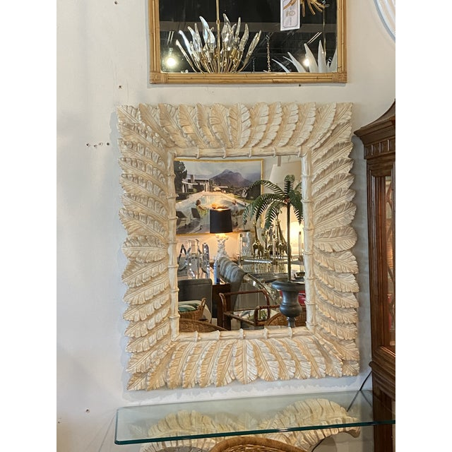 Vintage tropical leaf leaves faux bamboo wall mirror. Comes ready to hang. Console available separately.