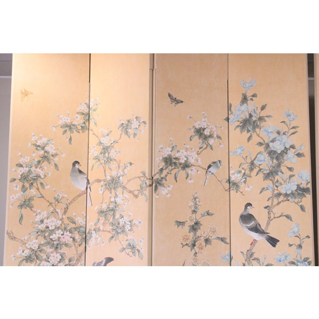 Paint Monumental Oriental 2 Piece 8 Panel Hand Painted Folding Screen Room Divider For Sale - Image 7 of 13