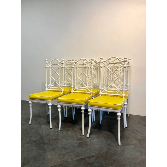1960s Vintage Kessler for Thomasville Iron Bamboo Chairs - Set of Six For Sale - Image 12 of 12