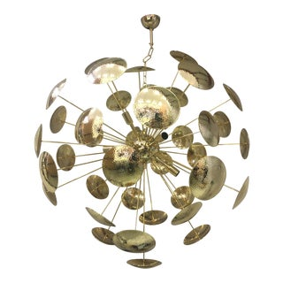 Mid-Century Gold Metal Frame Sputnik Chandelier For Sale