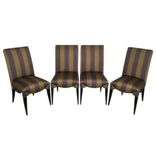 Larry Laslo for Directional Set 4 Striped Upholstered Dining Side Chairs For Sale