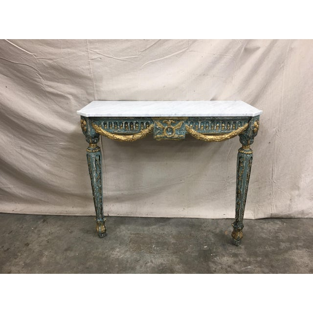 19th C French Marble Top Painted Console Table For Sale - Image 10 of 10