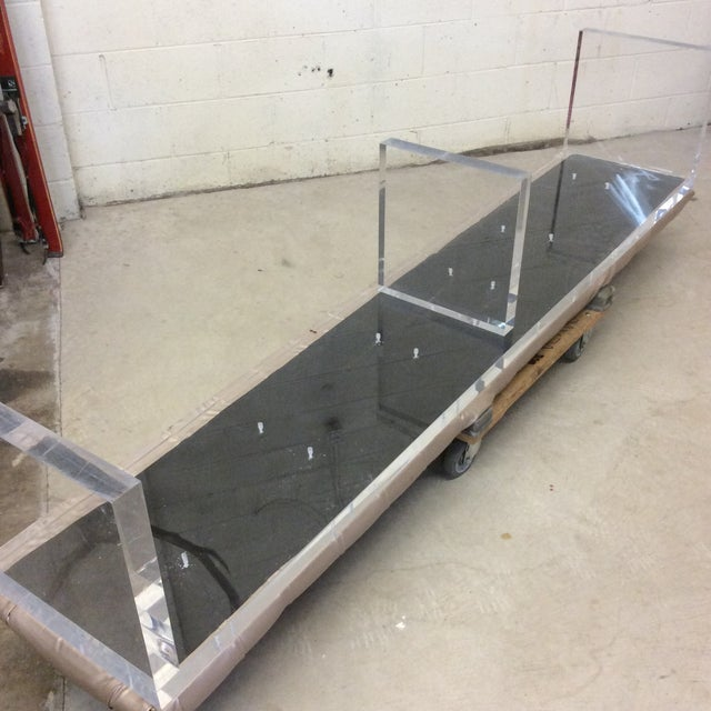 Monumental Leather Tufted Lucite Bench For Sale - Image 10 of 11