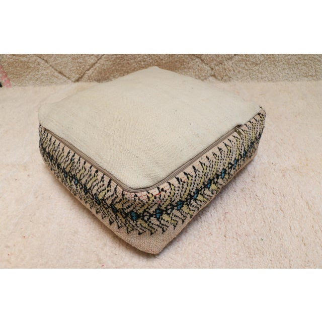 Textile Moroccan Rug Pillow Pouf Cover (Unstuffed) For Sale - Image 7 of 10