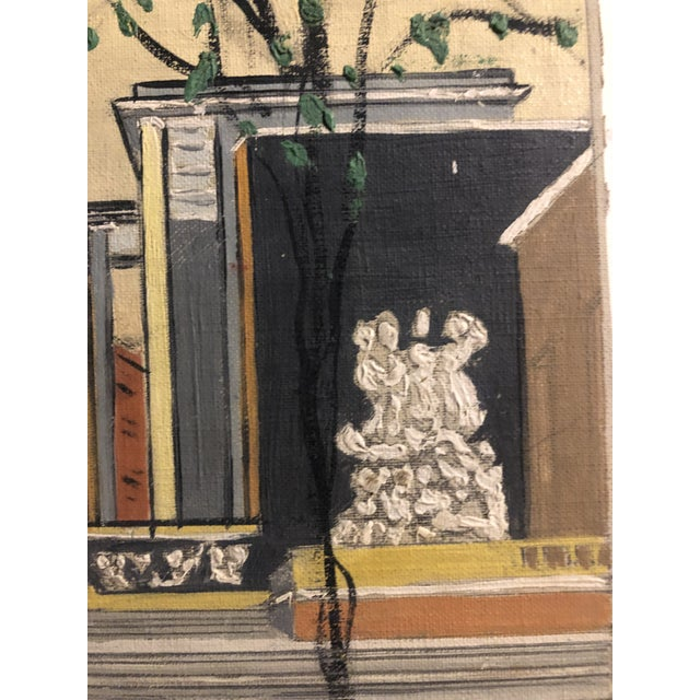 Mid-Century Oil on Canvas of a Modern Classical Courtyard With Sculpture 1960s For Sale - Image 4 of 9