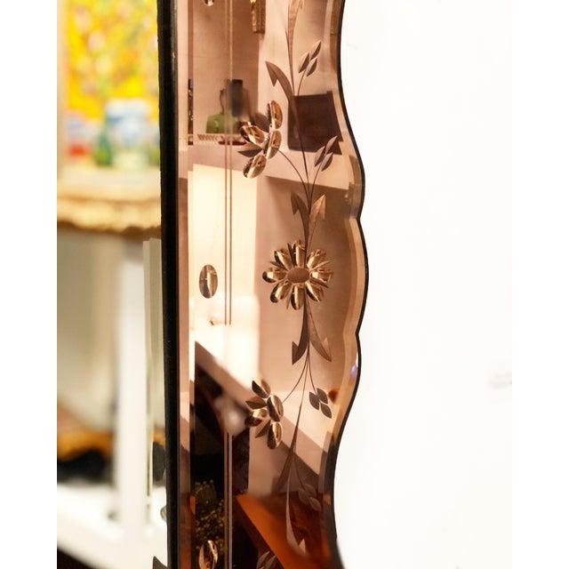 Vintage Rose Gold Venetian Floral Etched Mirror For Sale - Image 4 of 4