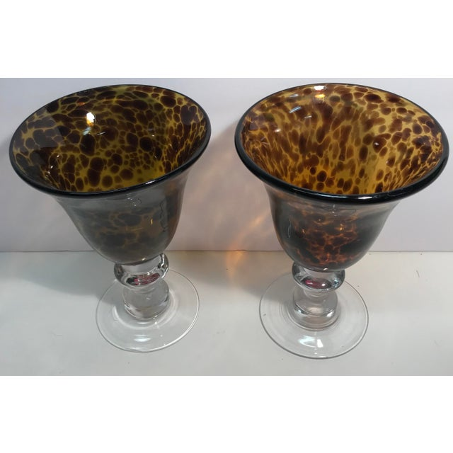 Contemporary Vintage Hand Blown Leopard Print Glass Goblets - a Pair For Sale - Image 3 of 4