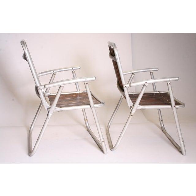 Vintage Redwood & Aluminum Folding Rocking Chairs - Set of 4 - Image 3 of 11