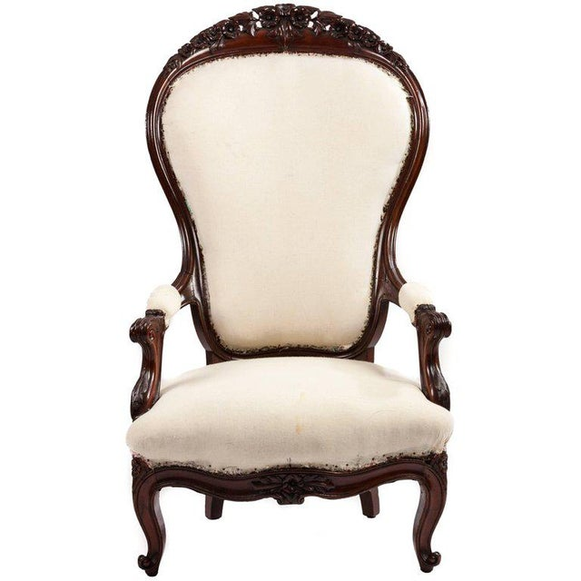 Unusually Large-Scale Victorian Mahogany Parlour Chair For Sale - Image 4 of 4