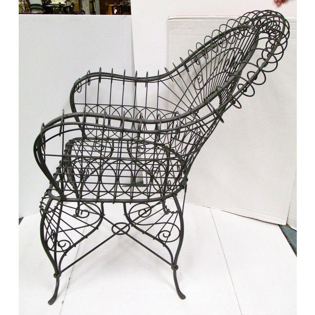 Victorian Style Black Wire Garden Chair - Image 4 of 6