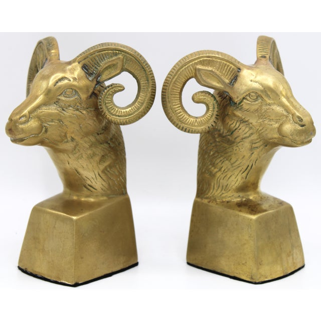 Hollywood Regency Brass Ram Head Bookends - a Pair For Sale - Image 4 of 9