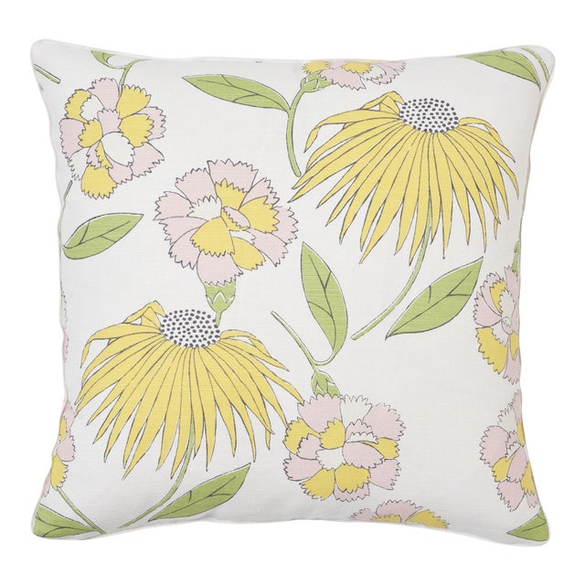 Schumacher X Celerie Kemble Bouquet Toss Pillow in Pink Lemonade For Sale