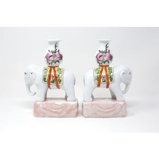 Vintage Chinoiserie Hand-Painted Ceramic Elephants Joss Stick or Candle Holders - a Pair Preview