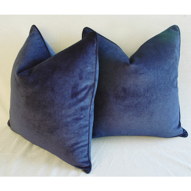 Blue Large Designer Midnight Blue Velvet Feather/Down Pillows - Pair For Sale - Image 8 of 10