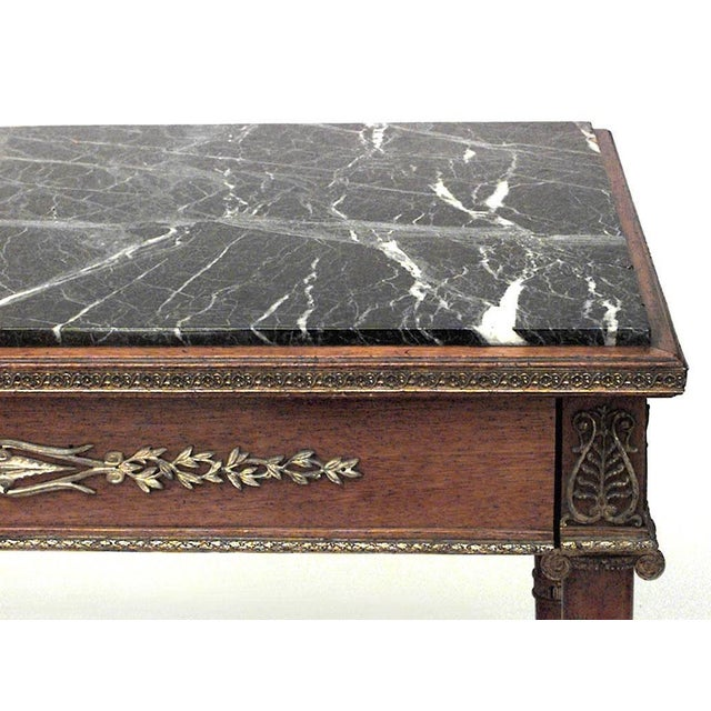 French Empire style (19th century) mahogany and bronze trimmed table with single drawer and green (repaired) marble-top.