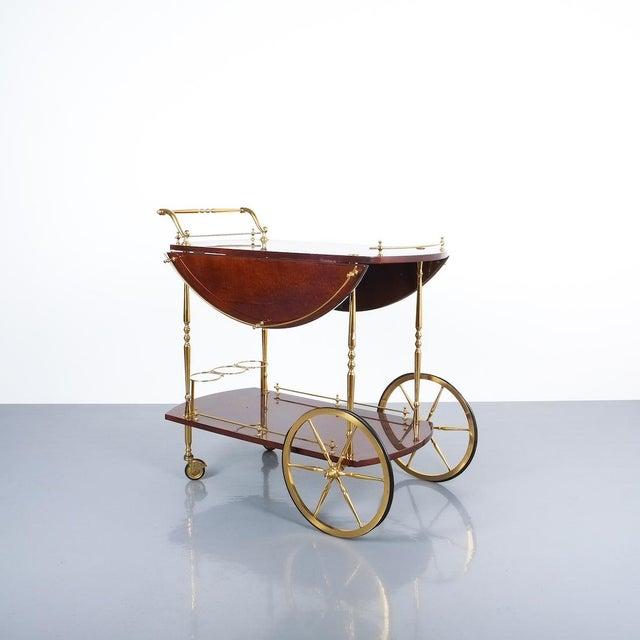 Aldo Tura Adjustable Brown Parchment Brass Bar Cart, 1960 For Sale - Image 13 of 13