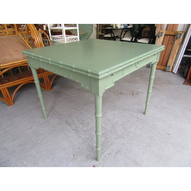 American Omega Extendable Faux Bamboo Dining Table For Sale - Image 3 of 8