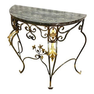 Italian Neoclassical Gilt Iron Marble Top Console Table For Sale