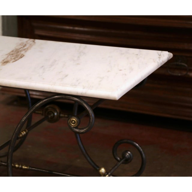 White 19th Century French Polished Iron and Bronze Pastry Table With Marble Top For Sale - Image 8 of 13