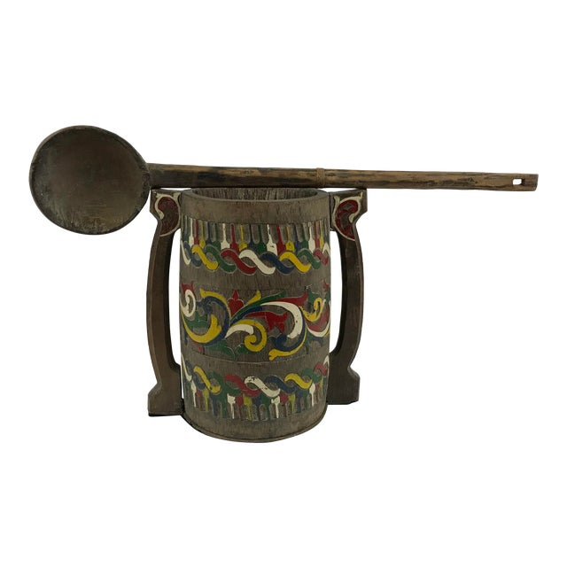 Polychrome Painted Carved Wooden Water Bucket With Ladle For Sale