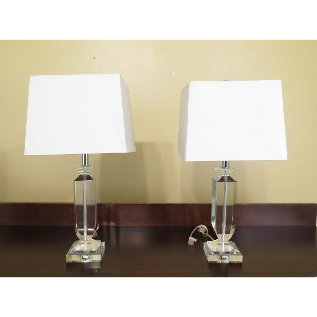 White Vintage Mid Century Modern Crystal Table Lamps - A Pair For Sale - Image 8 of 8