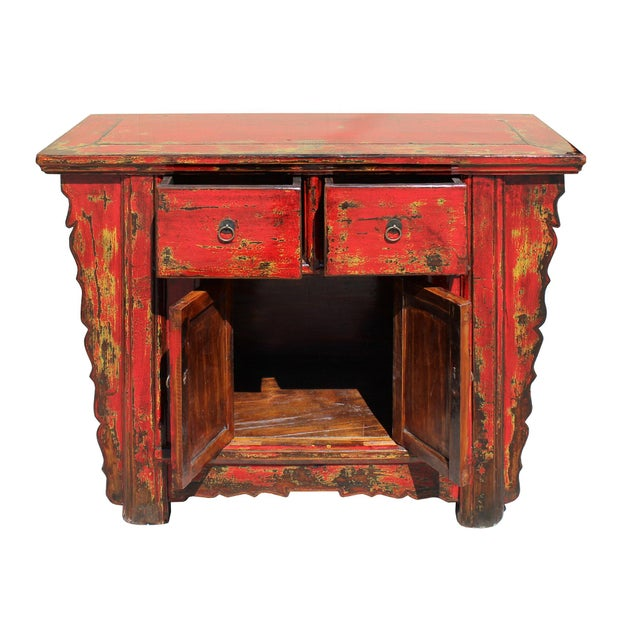 Wood Chinese Rustic Rough Wood Distressed Red Side Table Cabinet For Sale - Image 7 of 9