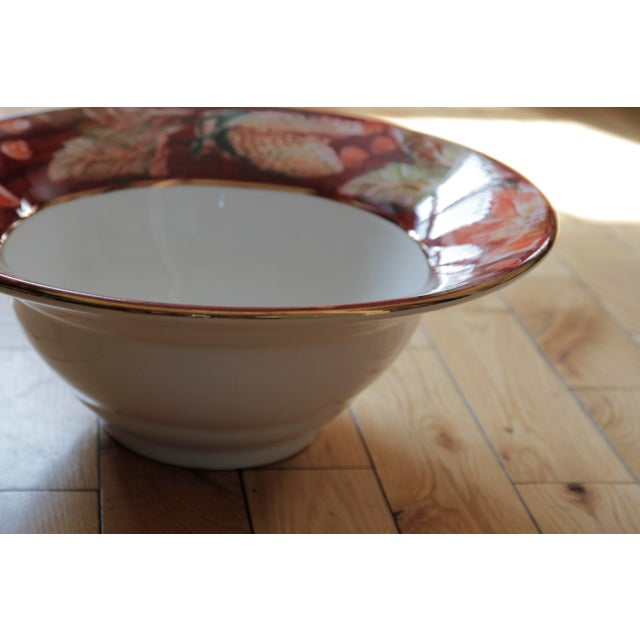 Green Italian Porcelain Poinsettia Holiday Serving Bowl and Plate For Sale - Image 8 of 11