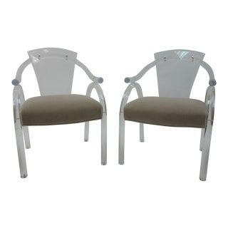 1940s Art Deco Lucite Armchairs - A Pair For Sale