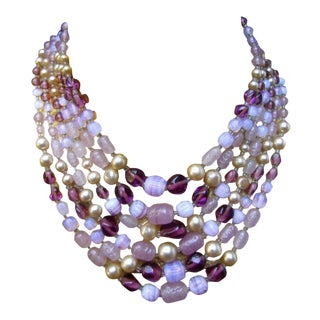 Dramatic Pastel Glass Beaded Necklace C 1960 For Sale