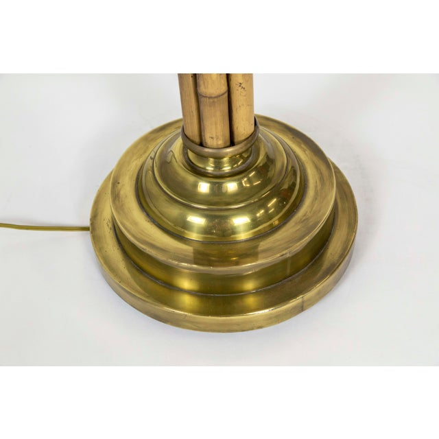 Vintage Mid Century Bamboo & Brass Palm Beach Floor Lamp For Sale - Image 4 of 10