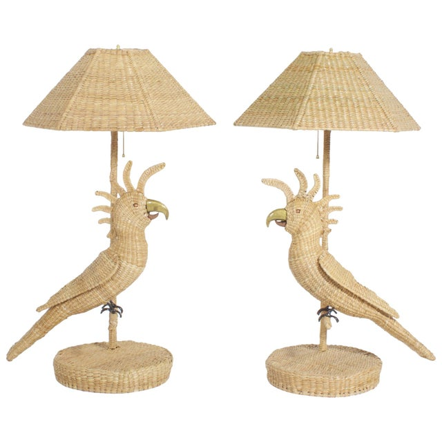 Tan Mario Torres Cockatoo Table Lamps - A Pair For Sale - Image 8 of 8