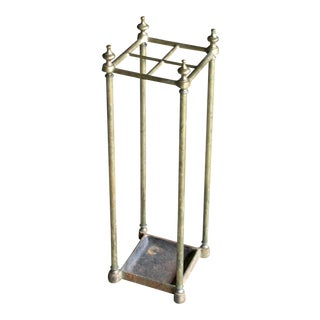 Antique Late 19th Century Brass & Iron Umbrella Stand For Sale