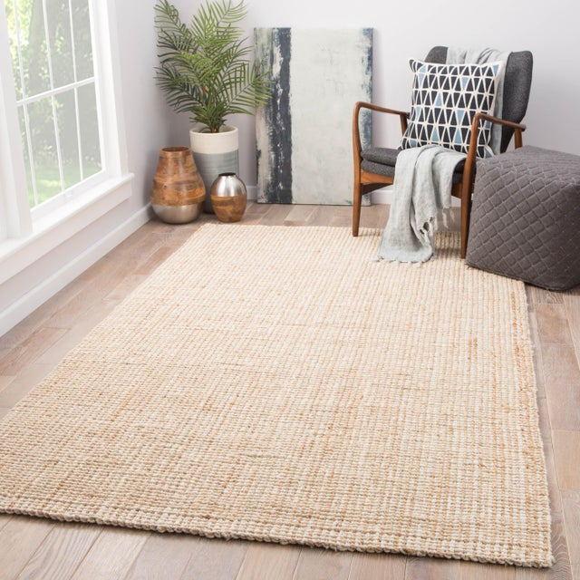 2010s Jaipur Living Mayen Natural Solid Tan/ White Area Rug - 10′ × 14′ For Sale - Image 5 of 6