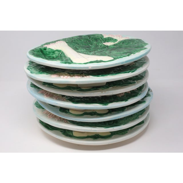 Vintage 1984 Majolica Cabbage and White Asparagus Plates - Set of 7 For Sale - Image 9 of 10