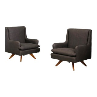 Mid-Century Armchairs Grey by Vladimir Kagan- A Pair For Sale