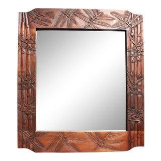70s Solid Wood Carved Bamboo Design Mirror For Sale