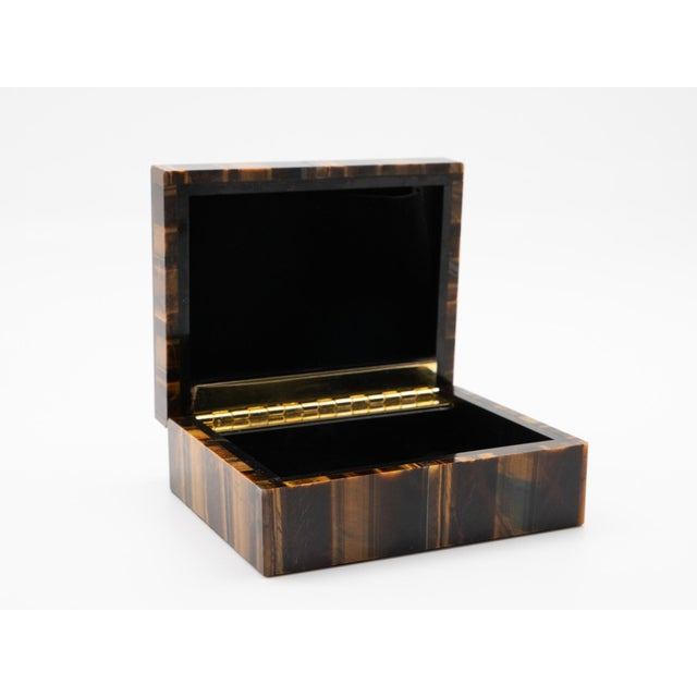 """Tiger's eye semi-precious stone box with hinged lid, 3.5"""" x 4.25"""" x 1.75"""" H. Tiger's eye is a form of metamorphic rock..."""