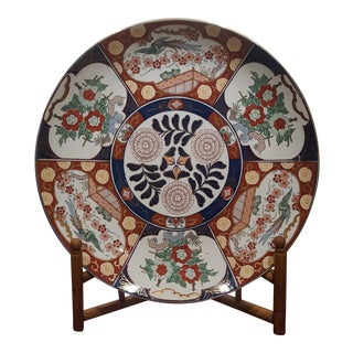 Vintage Imari Porcelain Charger on Bamboo Stand For Sale