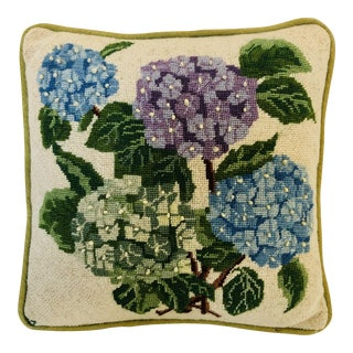 Vintage Handmade Needlepoint Floral Pillow For Sale