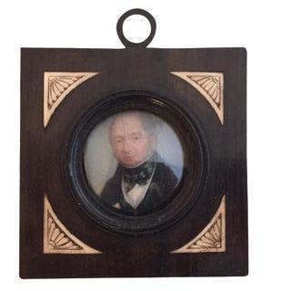 19th-C. Miniature Portrait of a Gentleman For Sale