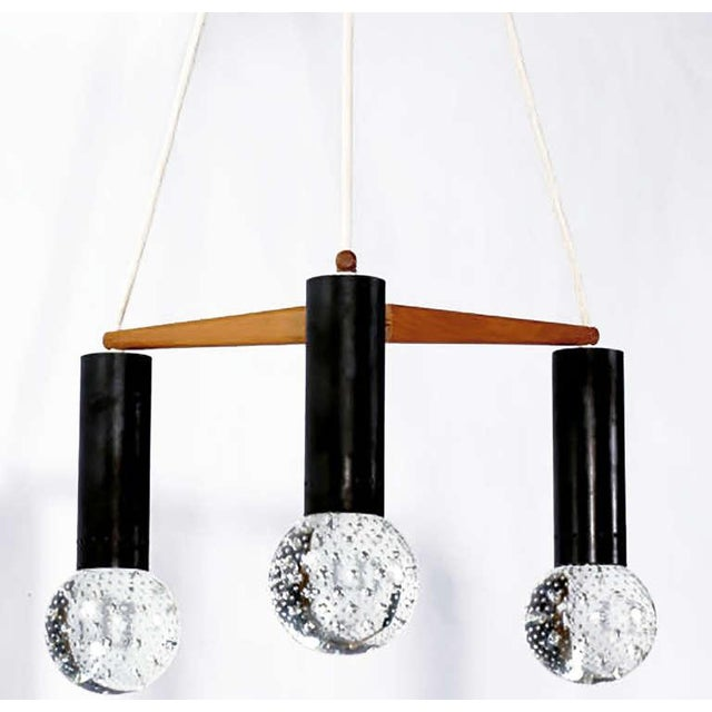 Italian Three Light Seguso Solid Glass Spheres Chandelier For Sale - Image 3 of 7