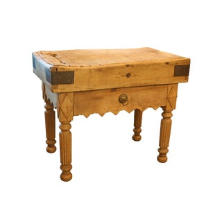 Old French Butcher Block Table with Single Drawer