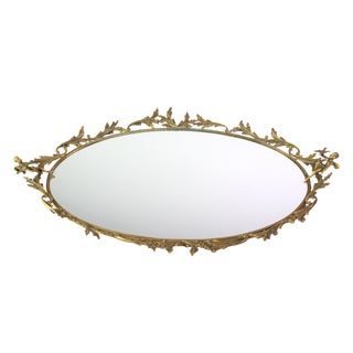 1950's Chippendale Style Mid-Century Hollywood Regency Vine & Cherub Brass Mirror Vanity Bar Tray For Sale