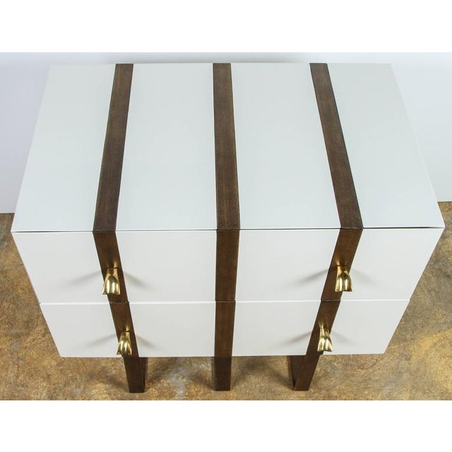 Paul Marra Two-Drawer Banded Chest in Lacquered Finish and Inset Iron Band - Image 8 of 8