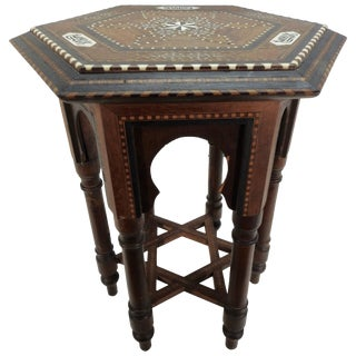 Early 20th Century Small Octagonal Side Table With Inlay From India For Sale