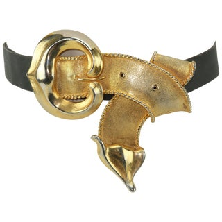 1989 Christopher Ross Large Looped Buckle & Belt For Sale