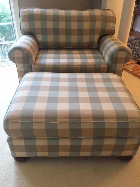 Serene Colors Of Sea And Sand Beckon This Set To Find A Quiet Spot In.  Cottage Vanguard Robins Egg Blue/ Caramel Buffalo Check Chair ...