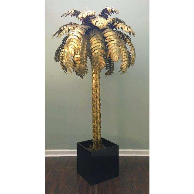 Maison Jansen Style Monumental Hollywood Regency Brass Palm Tree Floor Lamp - Image 2 of 6