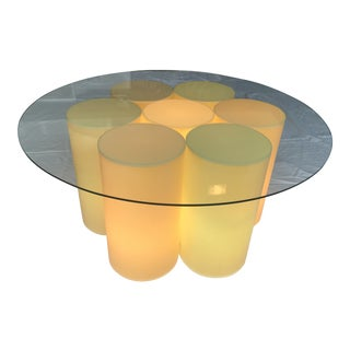 Vintage Plastic Groovy Cylinder Coffee Table - Lights Up For Sale